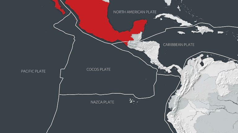 Graphics grab of the tectonic plates Mexico sits on