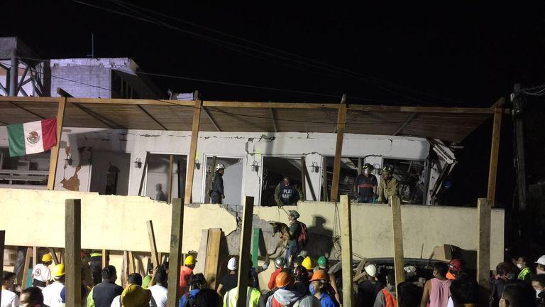 Rescue teams work at the Rébsamen school in Mexico City