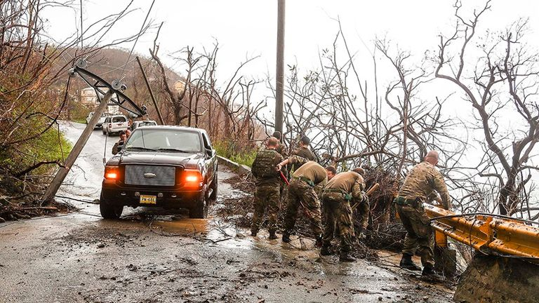 Royal Marines clear a road in Tortola. Pic: MoD