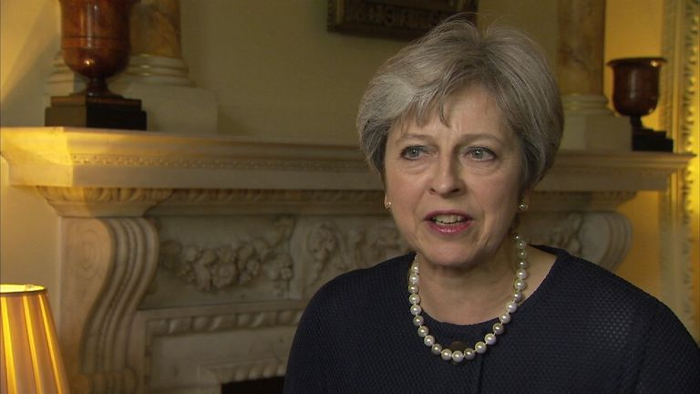 Theresa May talking in Downing Street following the terror attack at Parsons Green underground station.
