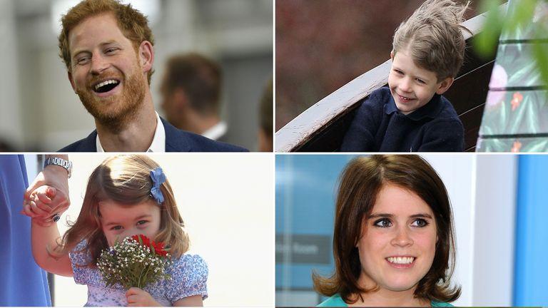 (Clockwise) Prince Harry, Viscount Severn, Princess Eugenie and Princess Charlotte