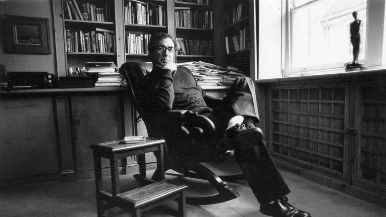 Playwright Harold Pinter in his study circa 1970