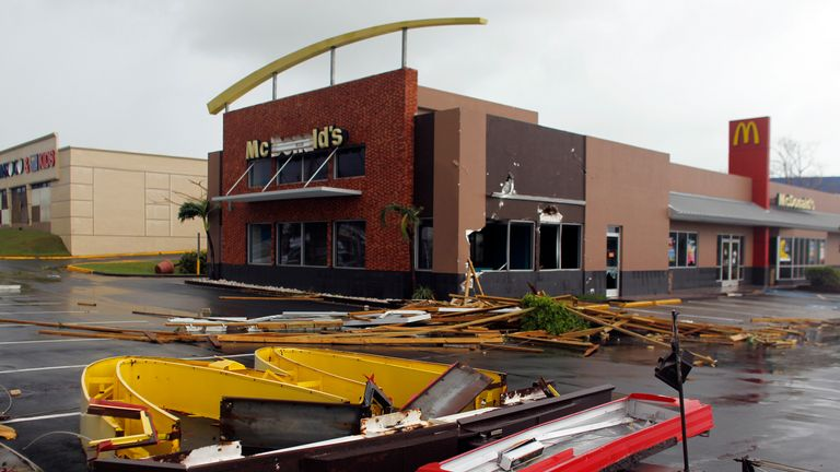 A McDonald's restaurant was among the buildings that was damaged