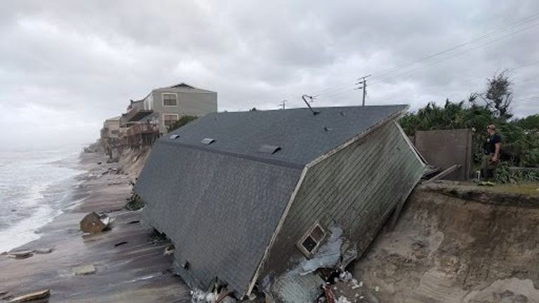 A collapsed coastal home in Vilano Beach, northeast Florida