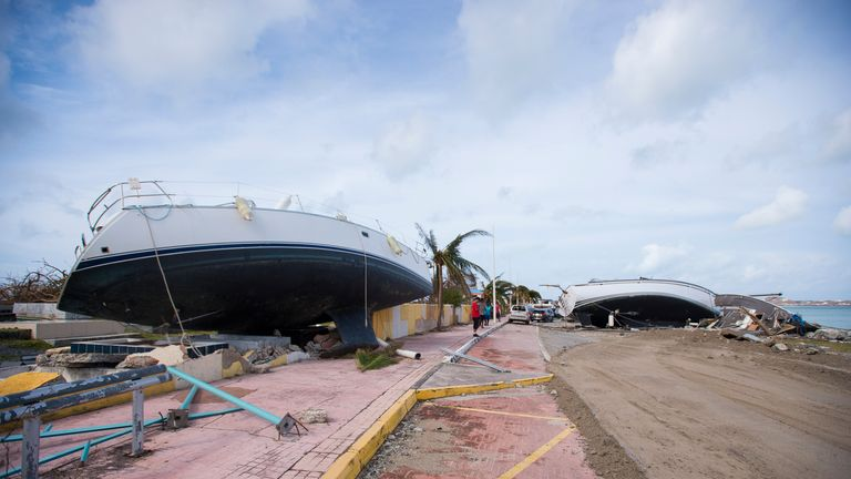 Boats wrecked ashore, in Marigot, near the Bay of Nettle, on the island of Saint-Martin in the northeast Caribbean