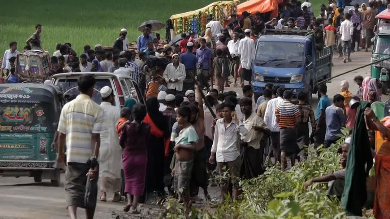 The number of Rohingya Muslims pouring over the Bagladesh-Myanmar border continues to swell