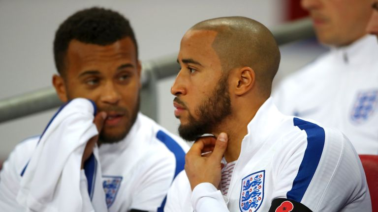 England's Andros Townsend on the bench during a World Cup qualifying match at Wembley Stadium, London