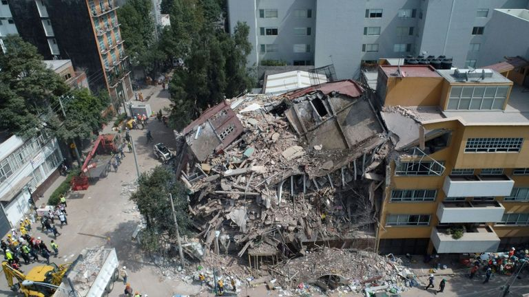 Aerial view of a flattened building in Mexico City