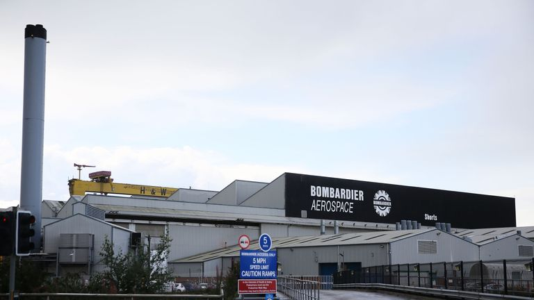 A general view of the Bombardier Aerospace plant in Belfast, Northern Ireland