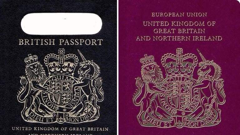 An old British passport (left) and a burgundy UK passport in the European Union style format