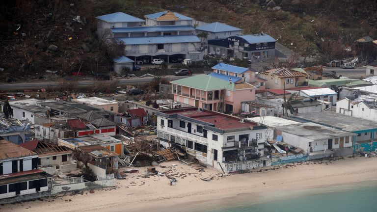 An aerial view of the houses destroyed by Irma during the visit of France's President Emmanuel Macron to the French Caribbean island of St. Martin