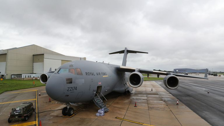 A Royal Air Force C-17 Globemaster III aircraft at Brize Norton, Oxfordshire, before Dfid aid is loaded and flown to the areas affected by Hurricane Irma