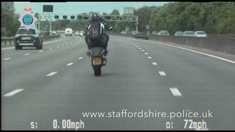 Zietowski performed wheelies while riding on the M6