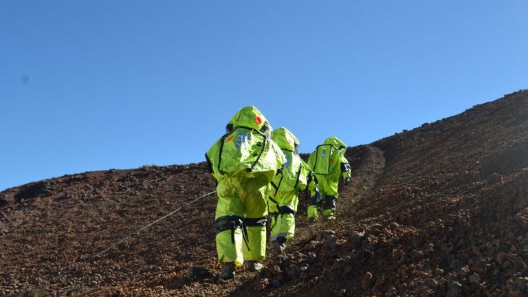 They had to travel in space-suits and teams outside the dome. Pic: University of Hawaii/HI-SEAS