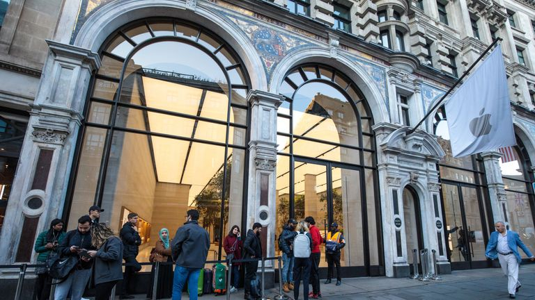Customers queue outside Apple Regent Street ahead of the launch of the iPhone 8
