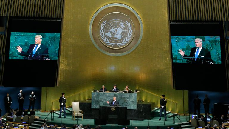 Donald Trump addresses the 72nd UN General Assembly at its headquarters in New York
