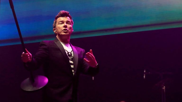 Rick Astley performs during the We Are Manchester benefit benefit show