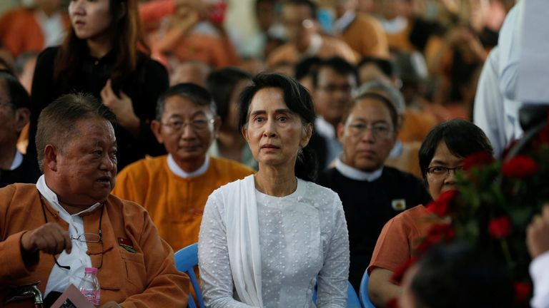 A file picture of Aung San Suu Kyi taken in August