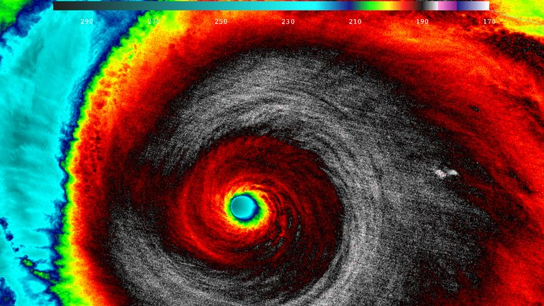 Hurricane Patricia, a Category 5 storm, is seen in an infrared image taken by NASA-NOAA's Suomi NPP satellite as it approaches the coast of Mexico at 05:20 EDT (09:20 GMT) October 23, 2015