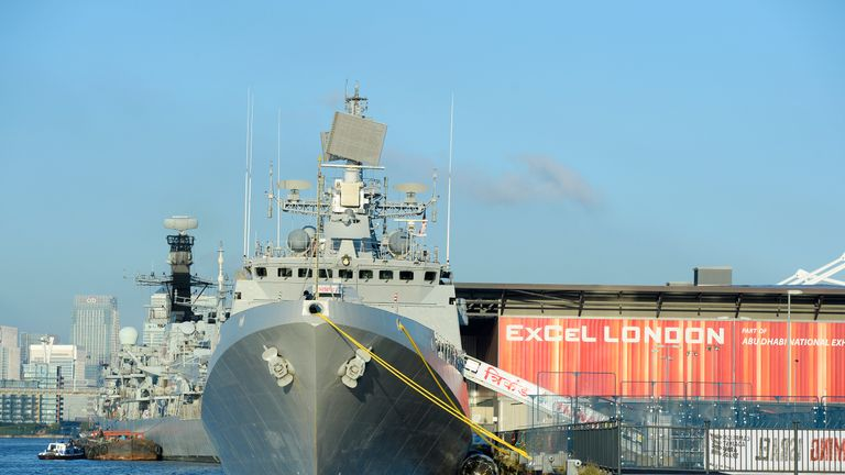 Seven warships will be visiting the ExCeL centre for the arms fair. Pic: DSEI