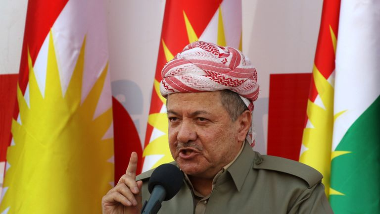 Iraqi Kurdish leader Massud Barzani delivers a speech during a rally to urge people to vote in the upcoming independence referendum in Arbil, the capital of the autonomous Kurdish region of northern Iraq, on September 22, 2017. Barzani insisted that the controversial September 25 independence referendum for his autonomous Kurdish region in northern Iraq will go ahead, even as last-minute negotiations aimed to change his mind. / AFP PHOTO / SAFIN HAMED (Photo credit should read SAFIN HAMED/AFP/Ge