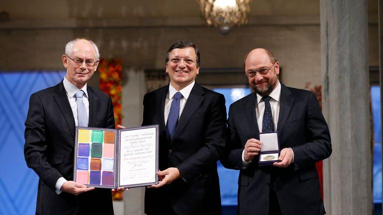 European Council President Herman Van Rompuy, European Commission President Jose Manuel Barroso and European Parliament President Martin Schulz collect the Nobel in 2012