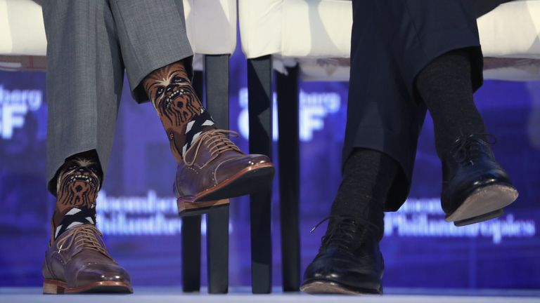 Canadian PM wears Star Wars themed socks at Bloomberg Global Business Forum