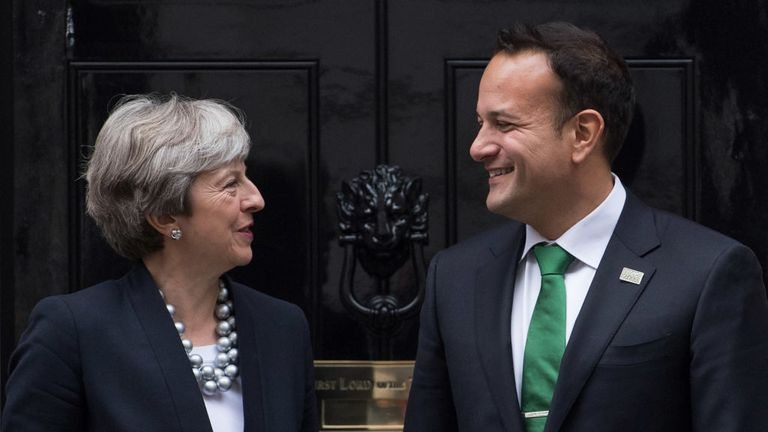 All smiles as Theresa May and Leo Varadkar meet for talks