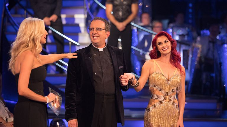 Tess Daly, left, Rev Richard Coles and Dianne Buswell in Strictly