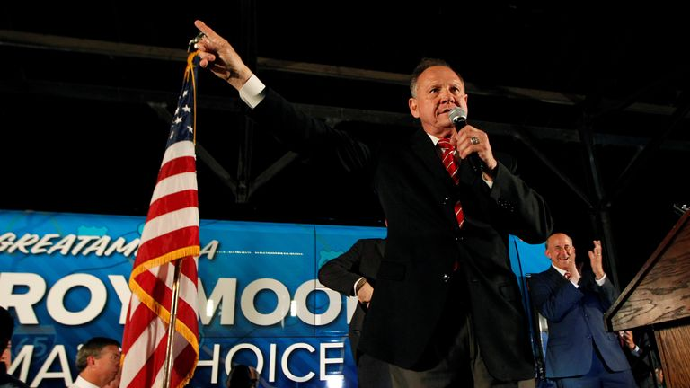 US Senate candidate Roy Moore campaigns in Montgomery, Alabama