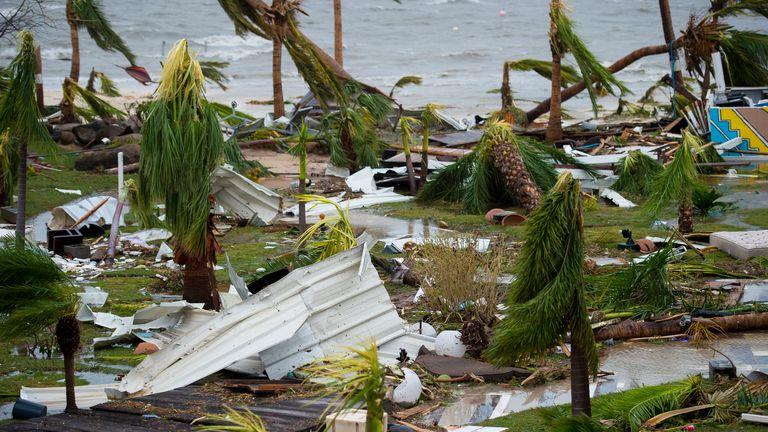 Destruction outside the 'Mercure' hotel in Marigot, on the Bay of Nettle, on the island of Saint-Martin