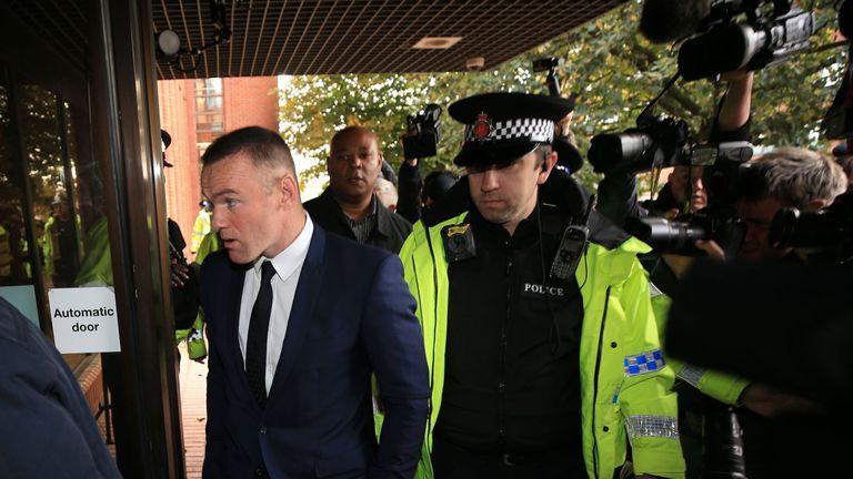 Everton striker Wayne Rooney arrives at Stockport Magistrates' Court