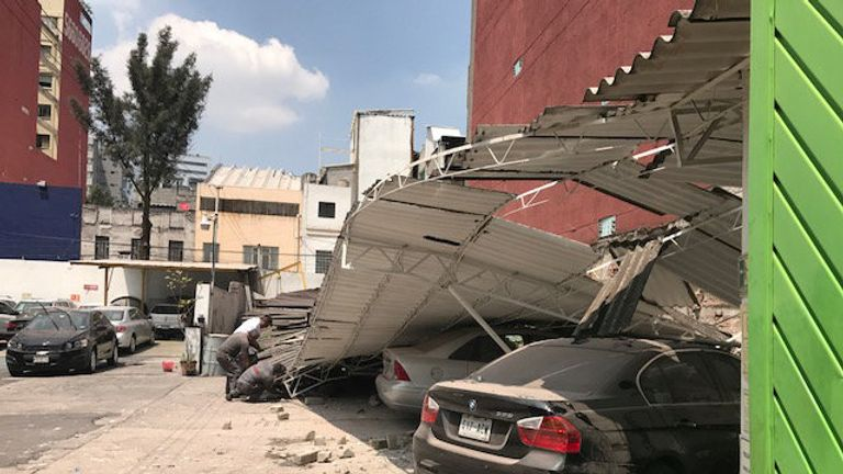Damage after an earthquake hit in Mexico City