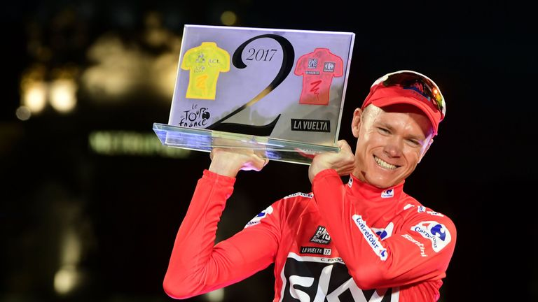 Chris Froome celebrates winning La Vuelta a Espana