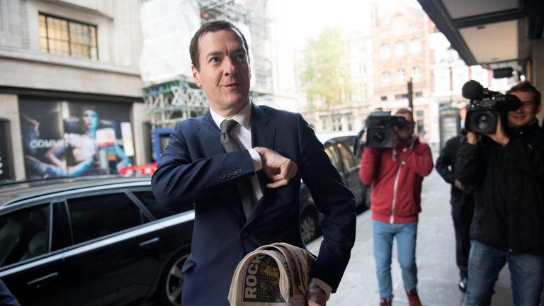 George Osborne arrives at the London Evening Standard's offices in Kensington