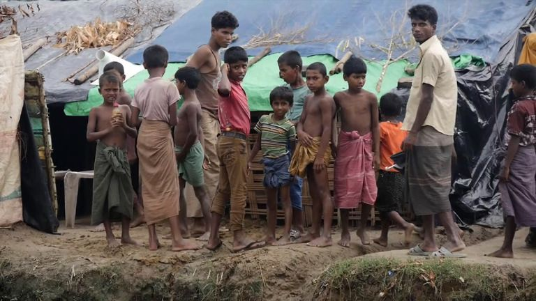Children are among those stuck at the camp