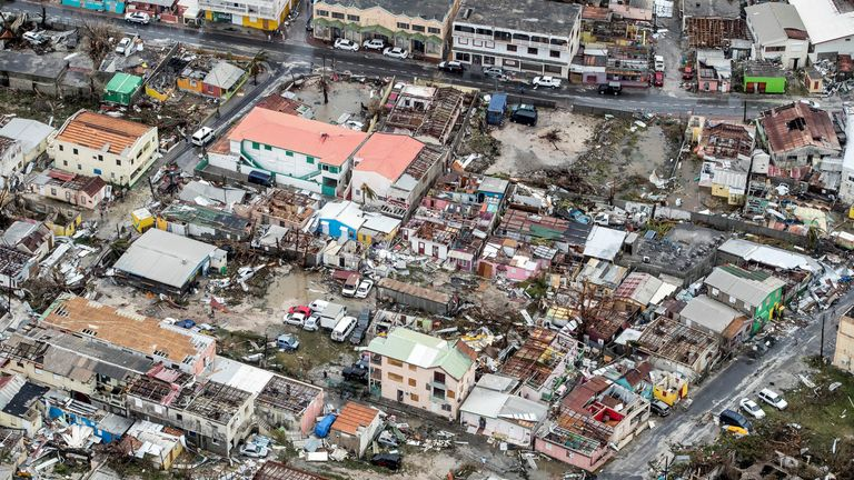 Major damage on St Martin in Caribbean
