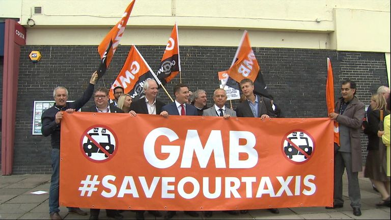 GMB protest against Uber in Brighton