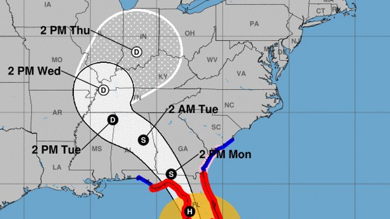 Irma's projected path. Pic: National Weather Service