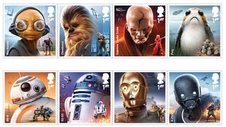 Eight stamps have been released to celebrate the new Star Wars film