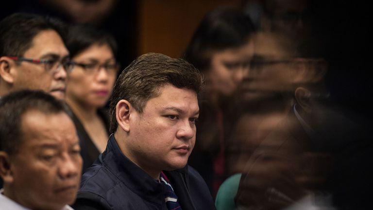 Davao City Vice Mayor Paolo Duterte (C), at a senate hearing in Manila on 7 September 2017