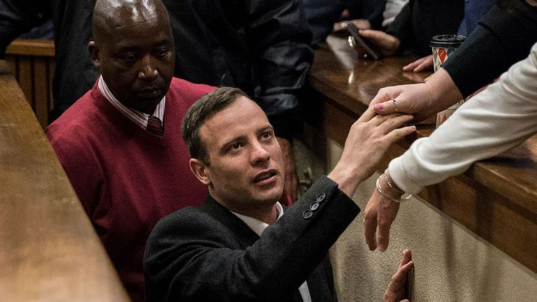 Oscar Pistorius at his sentencing hearing in 2016