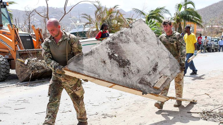 British Army Commandos take part in recovery efforts in Tortola, in the British Virgin Islands
