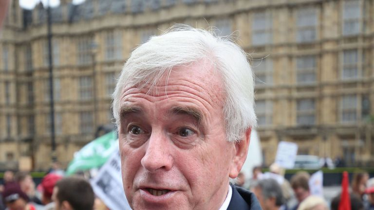 Shadow chancellor John McDonnell speaking at the rally at Old Palace Yard