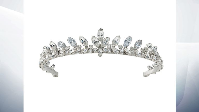 A colourless paste tiara worn by Hepburn at the London premiere of The Nun's Story, July 1959 and as Joanna Wallace in the 1967 film Two For The Road