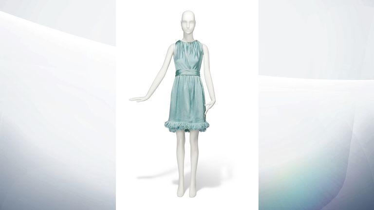 1967 Givenchy Couture pale blue cloque satin cocktail gown - Estimate: £10,000-15,000