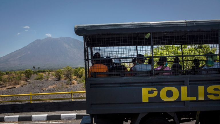 A 7.5-mile exclusion zone has been placed around Mount Agung