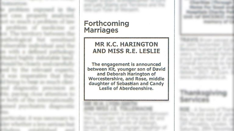 The announcement was made in the Times newspaper