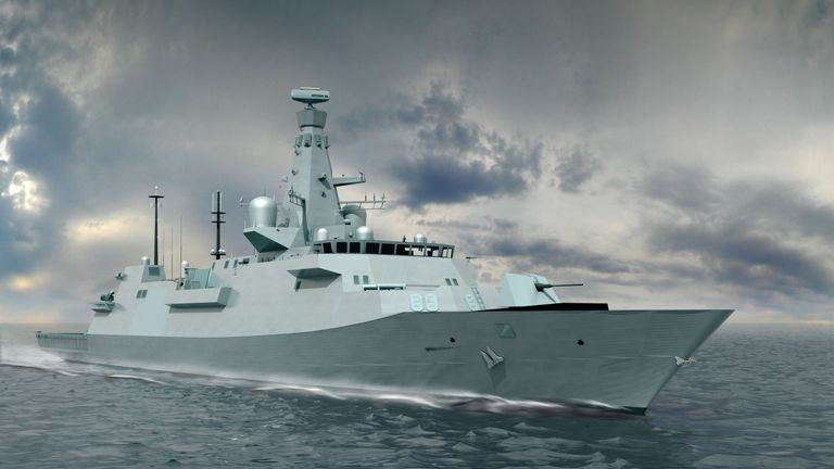 illustration issued by BAE Systems of an exterior shot of the latest design for the Type 26 Global Combat Ship.