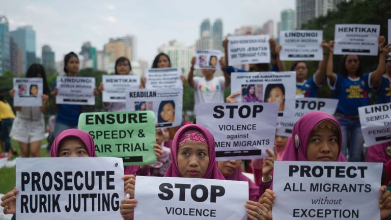 Migrant workers protested in Hong Kong during Jutting's trial last year